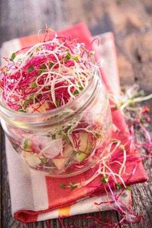 Photo pour Salade de légumes avec pot de tofu i, gros plan - image libre de droit