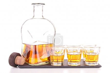 Carafe with whiskey and little glasses