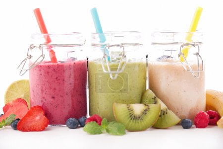 Assorted smoothie in jars