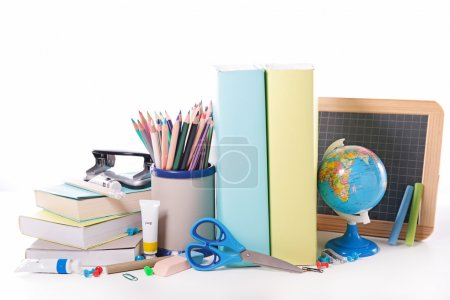 Photo for Back to school concept. school accessories on white background - Royalty Free Image