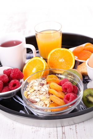 Photo for Healthy diet breakfast on tray on table - Royalty Free Image