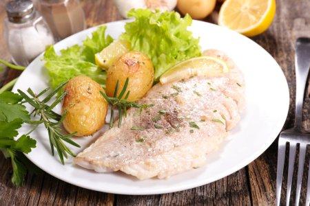 fried fish and roast potatoes