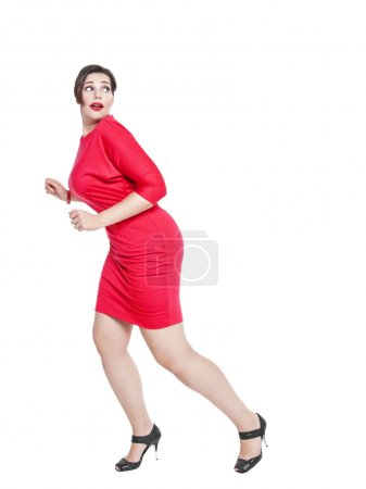Scared beautiful plus size woman isolated