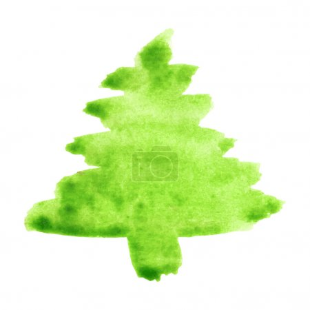 Abstract vector watercolor fir-tree