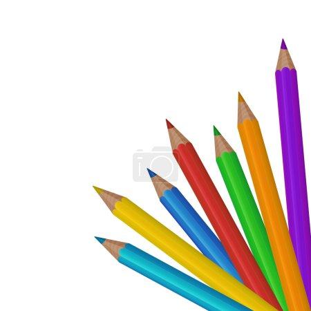Illustration pour Crayons de couleur colorés sur le fond blanc. Illustration vectorielle - image libre de droit