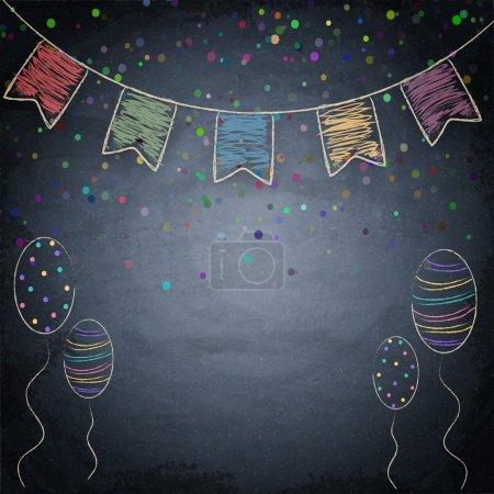 Illustration pour Arrière-plan tableau avec dessin des drapeaux et des ballons. Illustration vectorielle - image libre de droit