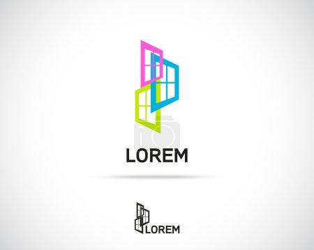 Illustration for Window Emblem. Logo Simbol Element. Vector Icon - Royalty Free Image