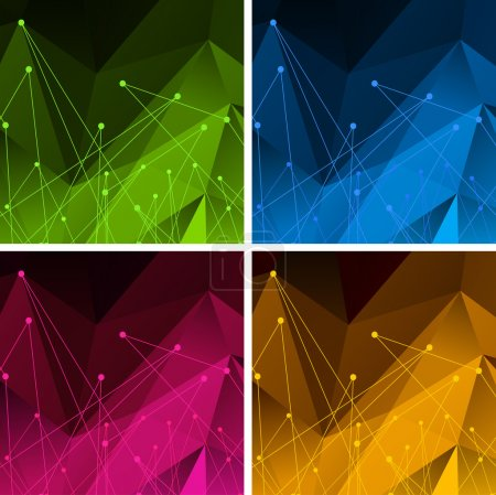 Set of Vector Backgrounds with Color Polygonal Abstract Shapes