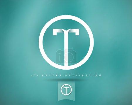 Illustration pour Modèle de conception de logo vectoriel abstrait. Concept créatif Icône ronde. Lettre T Stylisation - image libre de droit