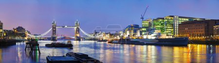Photo for Panoramic overview of Tower bridge in London, Great Britain at night - Royalty Free Image