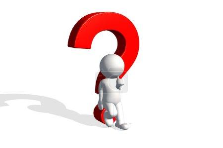 Foto de 3D hombre pensando con signo de interrogación rojo sobre fondo blanco - Imagen libre de derechos