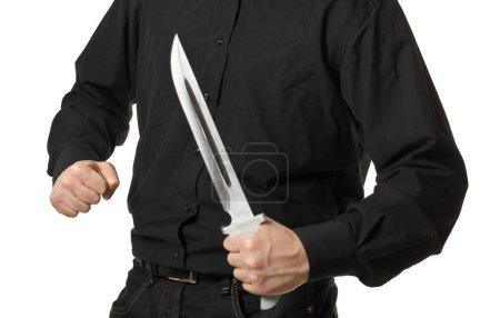 man holding knife isolated