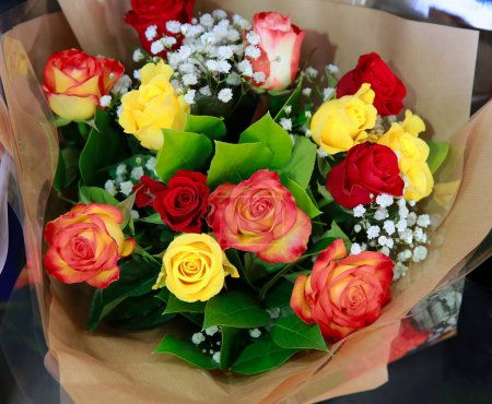 Beautiful bouquet of flowers in the shop...