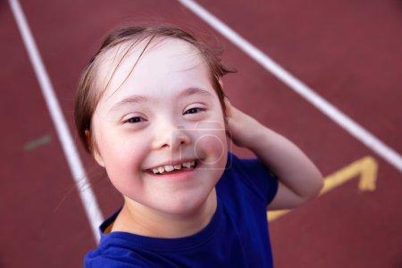 Little girl have fun on stadium