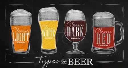 Illustration pour Affiche types de bière avec quatre principaux types de lettrage bière bière légère classique, bière blanche classique, bière sombre classique, dessin à la bière rouge classique avec craie dans un style vintage sur tableau . - image libre de droit