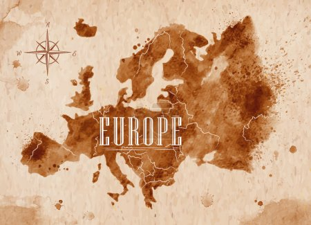 Illustration for Map of Europe in old style in vector format, brown graphics in a retro style - Royalty Free Image