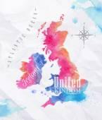 Akvarell Térkép Egyesült Királyság és Skócia rózsaszín-kék