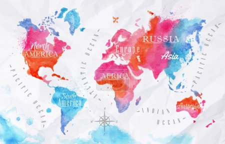 Illustration for Watercolor world map in vector format in pink and blue colors on a background of crumpled paper - Royalty Free Image