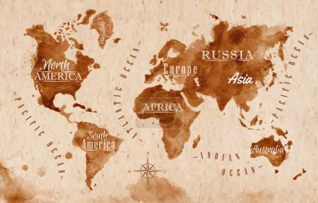 Illustration for World map in old style in vector format, brown graphics in a retro style - Royalty Free Image