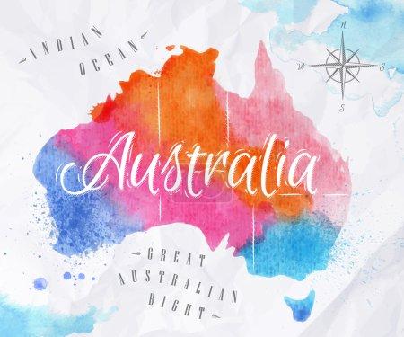 Watercolor map Australia pink blue
