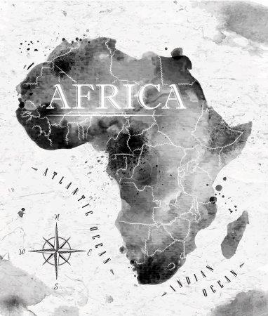 Illustration pour Carte Ink Africa en format vectoriel graphismes noir et blanc dans un style vintage - image libre de droit