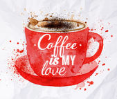 Watercolor red cup of cappuccino