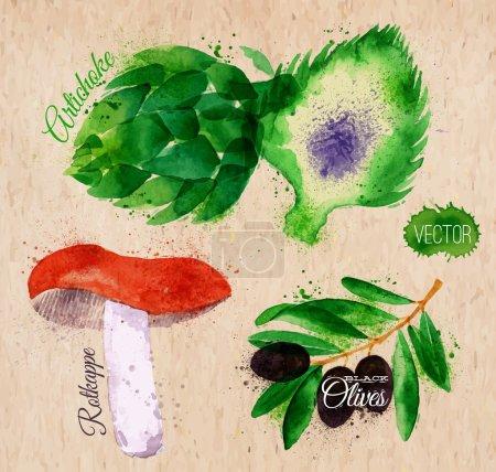 Vegetables watercolor rotkappe, artichokes, black olives on kraft paper