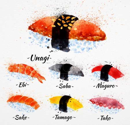 Illustration for Sushi watercolor set hand drawn with stains and smudges unagi, sabe, maguro, sake, tamago, tako - Royalty Free Image