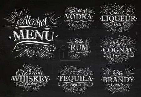 Illustration pour Set alcool menu boissons lettres noms dans le style rétro vodka, liqueur, rhum, cognac, brandy, tequila, whisky dessin stylisé à la craie sur le tableau noir - image libre de droit