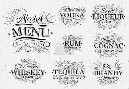 Set alcohol menu vintage