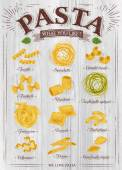 Poster set of pasta with different types of pasta fusilli spaghetti gomiti rigati farfalle rigatoni tagliatelle spinaci fettuccine ravioli tortiglioni cellentani penne conchiglie rigate in retro style on a wooden background Vector