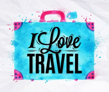 Illustration for Suitcase watercolors poster hand drawn with stains and smudges I love travel - Royalty Free Image