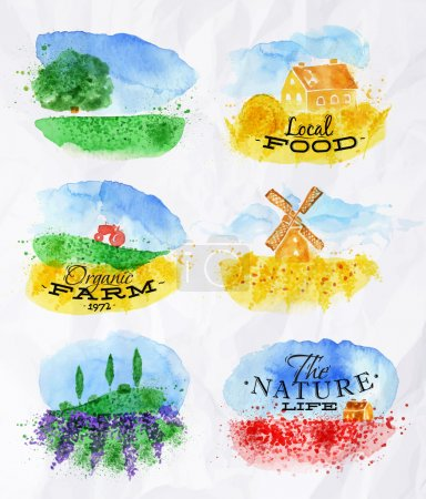 Illustration for Watercolor landscapes symbols wheat fields of poppies, lavender, herbs with miniature houses mill and a tractor with lettering organic farm, local food, the nature life - Royalty Free Image