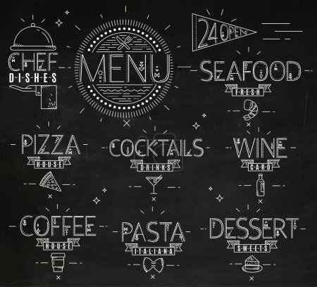 Illustration for Menu in vintage modern style lines drawn with symbols pizza, pasta, seafood, wine, cocktails, coffee, chef dish, 24 open drawing with chalk - Royalty Free Image