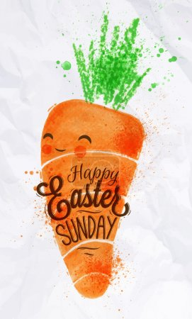 Happy easter carrot poster painted pastel colored ...