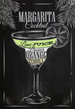 Margarita cocktail chalk