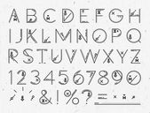 Font of flat lines the entire alphabet on the background paper