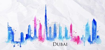 Silhouette watercolor Dubai