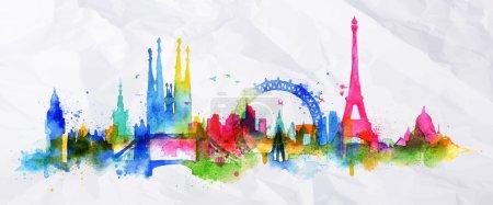 Silhouette overlay city Paris