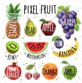 fruits drawing in pixel style