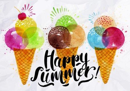 Illustration pour Affiche cônes de crème glacée aquarelle différentes couleurs lettrage heureux dessin d'été sur papier froissé - image libre de droit
