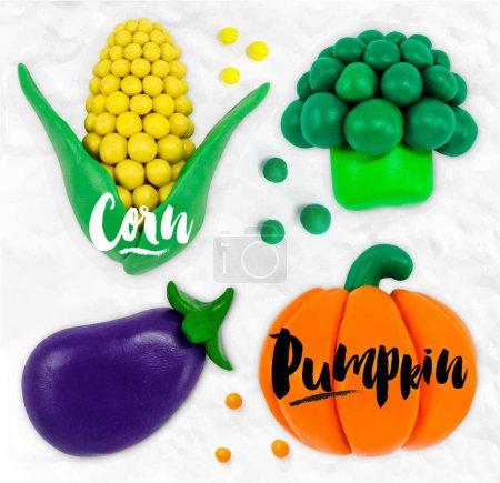 Plasticine vegetables pumpkin