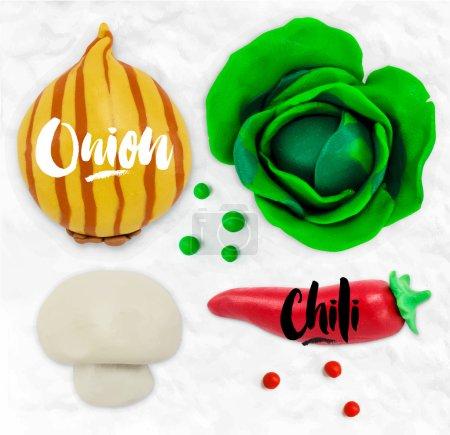 Plasticine vegetables onion