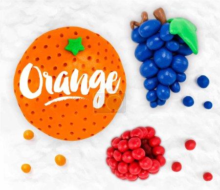 Illustration pour Modélisation plasticine fruits raisin orange framboises pavées ensemble sur un fond de plasticine blanche - image libre de droit