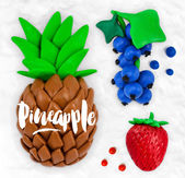 Plasticine fruits pineapple