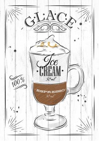 Illustration pour Affiche glace café en style vintage dessin sur fond bois - image libre de droit