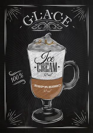 Illustration pour Affiche glace café en style vintage dessin à la craie sur le tableau noir - image libre de droit