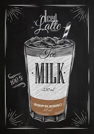 Illustration pour Affiche café glacé latte en style vintage dessin à la craie sur le tableau noir - image libre de droit