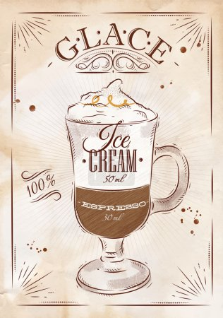Illustration pour Affiche glace de café dans le style vintage dessin sur kraft - image libre de droit