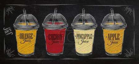 Illustration pour Poster ensemble de tasses avec dôme et différents jus dessin à la craie sur le tableau noir - image libre de droit